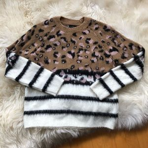 Fuzzy and soft leopard print and stripe sweater